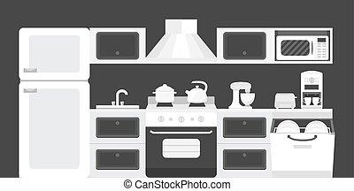 Black white color kitchen interior. - Illustration of a...
