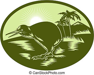 illustration of a Kiwi bird side view with tree in background