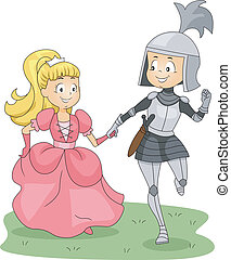 Knight and Princess - Illustration of a Knight and Princess...