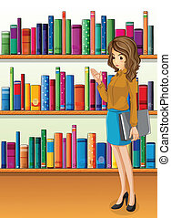 Illustration of a lady holding a binder standing in front of the wooden shelves with books