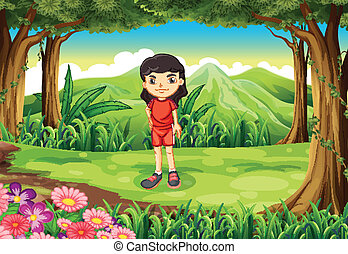 Illustration of a lady wearing a red uniform standing in the middle of the forest