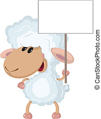 lamb with a sign - illustration of a lamb with a sign