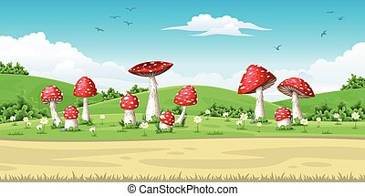 Illustration of a landscape with mushrooms