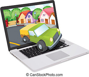 laptop and jeep