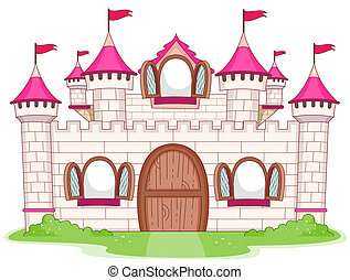 Castle - Illustration of a Large Castle with Open Windows
