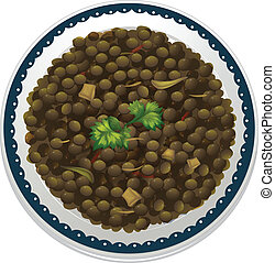 a lentils and a bowl - illustration of a lentils and a bowl...