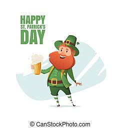 Illustration of a leprechaun with beer mug.
