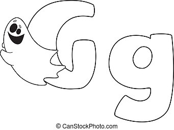 letter G ghost outlined