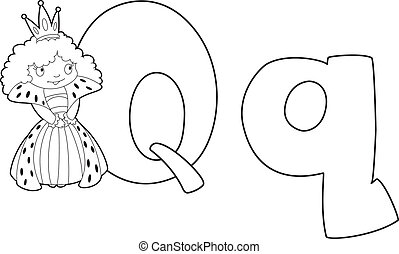 letter Q queen outlined