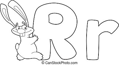 letter R rabbit outlined