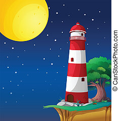 a light house - illustration of a light house in a dark...