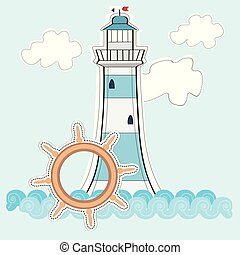 illustration of a light house on a blue background with clouds and steering wheel