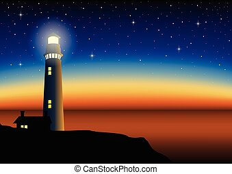 Illustration of a lighthouse during sunset