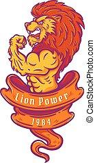 lion bodybuilder - Illustration of a lion bodybuilder