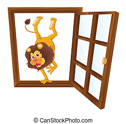 a lion in the window