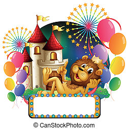 Illustration of a lion king lying in front of a castle with balloons and fireworks on a white background