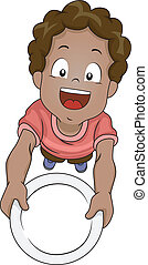 Illustration of a Little Boy Handing Over an Empty Plate