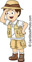 Illustration of a Little Boy in Full Safari Gear Examining Somet