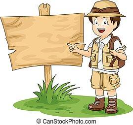 Illustration of a Little Boy in Full Safari Gear Standing Beside