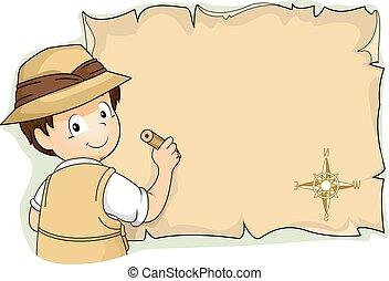 Illustration of a Little Boy in Full Safari Gear Writing on an O