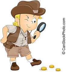 Treasure Hunt - Illustration of a Little Boy on a Treasure...
