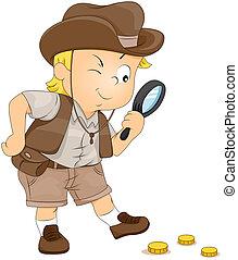 Treasure Hunt - Illustration of a Little Boy on a Treasure ...