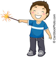 Boy Playing with a Sparkler
