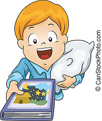 Bedtime Story - Illustration of a Little Boy Requesting to ...