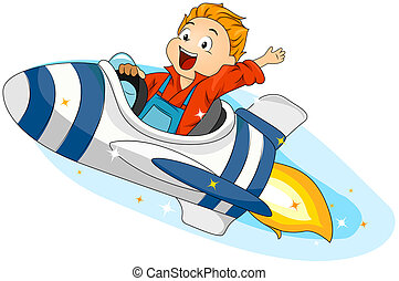Spaceship - Illustration of a Little Boy Riding a Spaceship