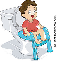 Potty Seat - Illustration of a Little Boy Sitting on a Potty...