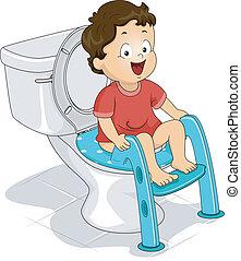 Potty Seat - Illustration of a Little Boy Sitting on a Potty...