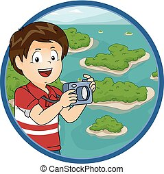 Illustration of a Little Boy Taking Photos of Islands Scattered