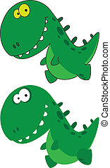 little funny dino - illustration of a little funny dino