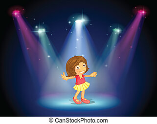 Illustration of a little girl dancing in the middle of the...