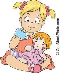 Girl Feeding Her Doll - Illustration of a Little Girl...