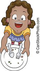 Done Eating - Illustration of a Little Girl Handing Her ...