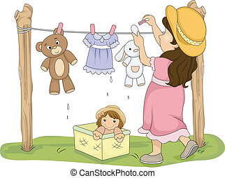 Illustration of a Little Girl Hanging Her Stuffed Toys to...
