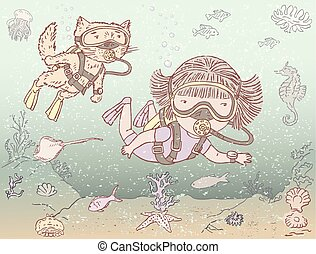 Illustration of a little girl with her cat diving