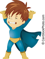 Little Kid Boy Superhero Lifting Something - Illustration of...