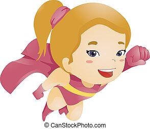 Little Kid Girl Flying