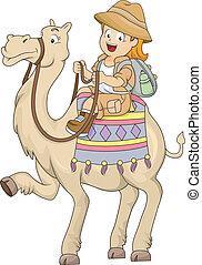 Little Kid Girl Riding a Camel