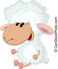 little lamb sits - illustration of a little lamb sits