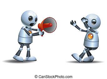 little robot scolding using megaphone - illustration of a...