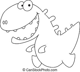 illustration of a little smile dino outlined