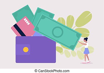 Illustration of a little woman with a banknote. and wallet. Vector illustration in a flat style