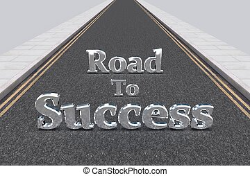 Road To Success - Illustration of a long road with the words...