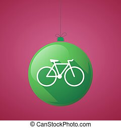 long shadow christmas ball icon with a bicycle