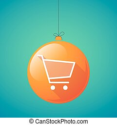 long shadow christmas ball icon with a shopping cart