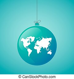 long shadow christmas ball icon with a world map