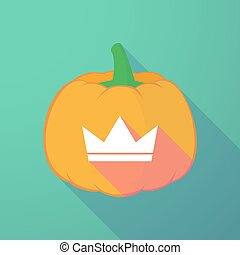 long shadow halloween pumpkin with a crown